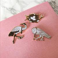 Owl Nest and Crane Pins