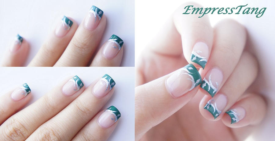 Silver Branches Over Green French Manicure By Empresstang On Deviantart