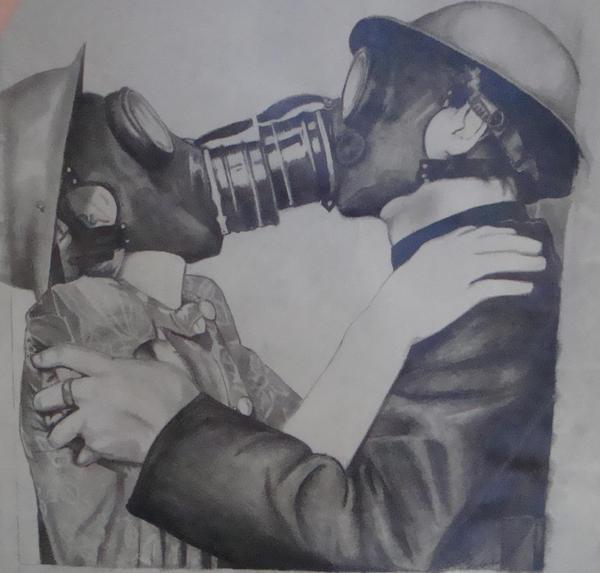 Gas Mask Kiss by FatalBlackRose69