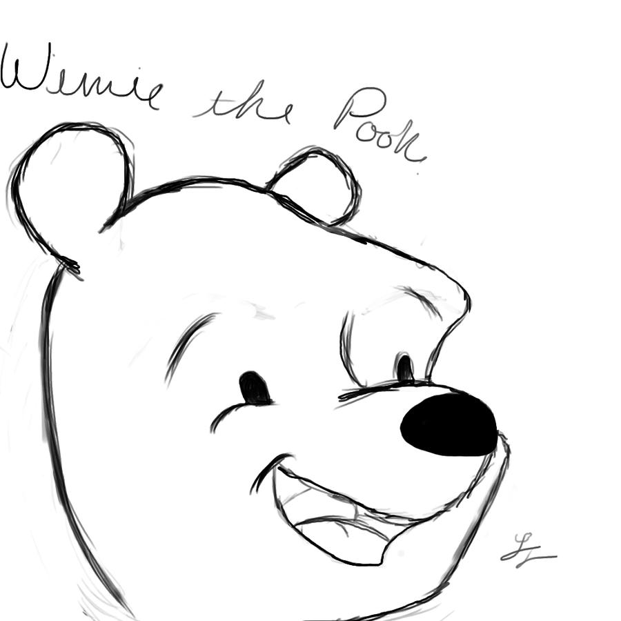 pooh bear my first free hand tablet drawing by tycezala on