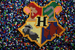 Perler Beads- Hogwarts House Crests by Puppylover5