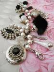 Rhinestone and fur bracelet
