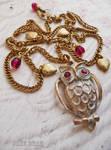 Whitewashed owl necklace