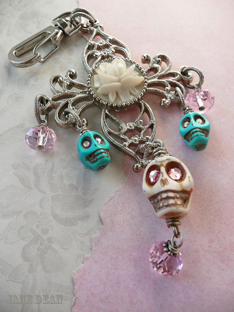 Pastel skull rose keychain by janedean