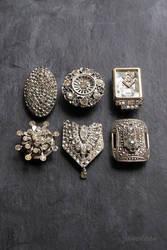 Shabby rhinestone fridge magnets by janedean