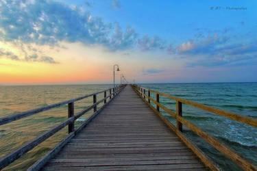 romantic sunset lake bridge goehren