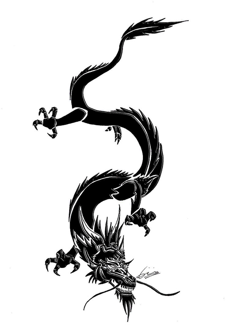 dragon tribal tattoo by syluna hirokashi by sylunahirokashi on deviantart. Black Bedroom Furniture Sets. Home Design Ideas