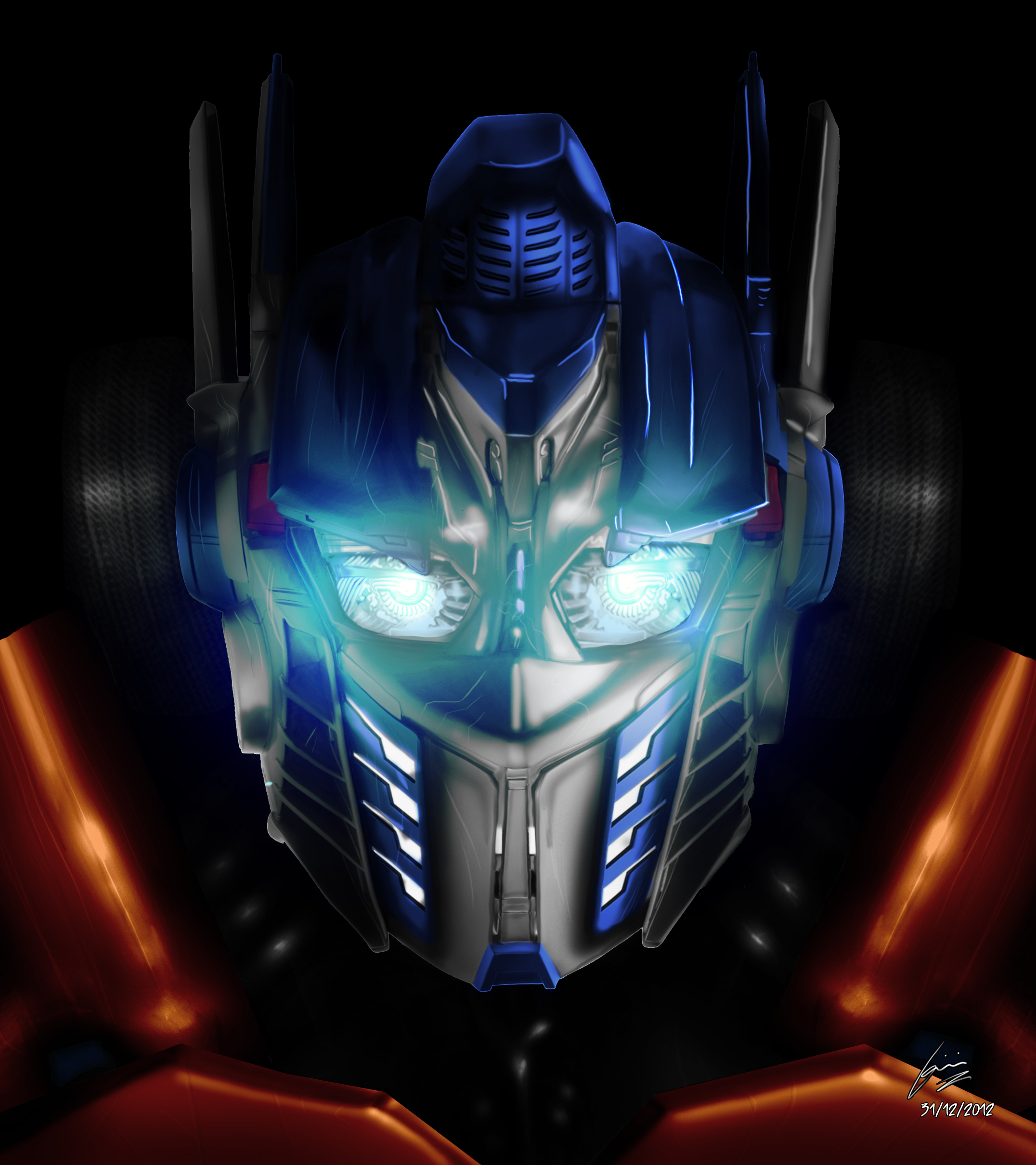 Transformers Optimus Prime Face Painting