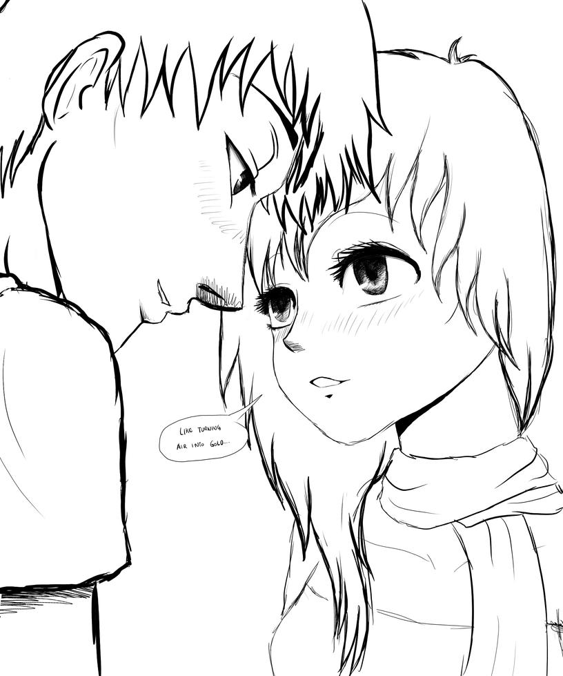 Wade and Luna (OC Manga Couple SKETCH) by SylunaHirokashi