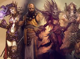 Diablo characters - wallpaper by pilotaz