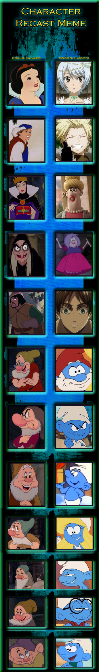 Yukino and the seven smurfs- Recast MEME by Holly2001