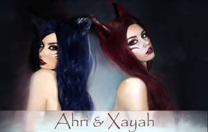 Ahri and Xayah from League of Legends