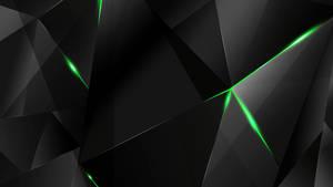 Wallpapers - Green Abstract Polygons (Black BG)