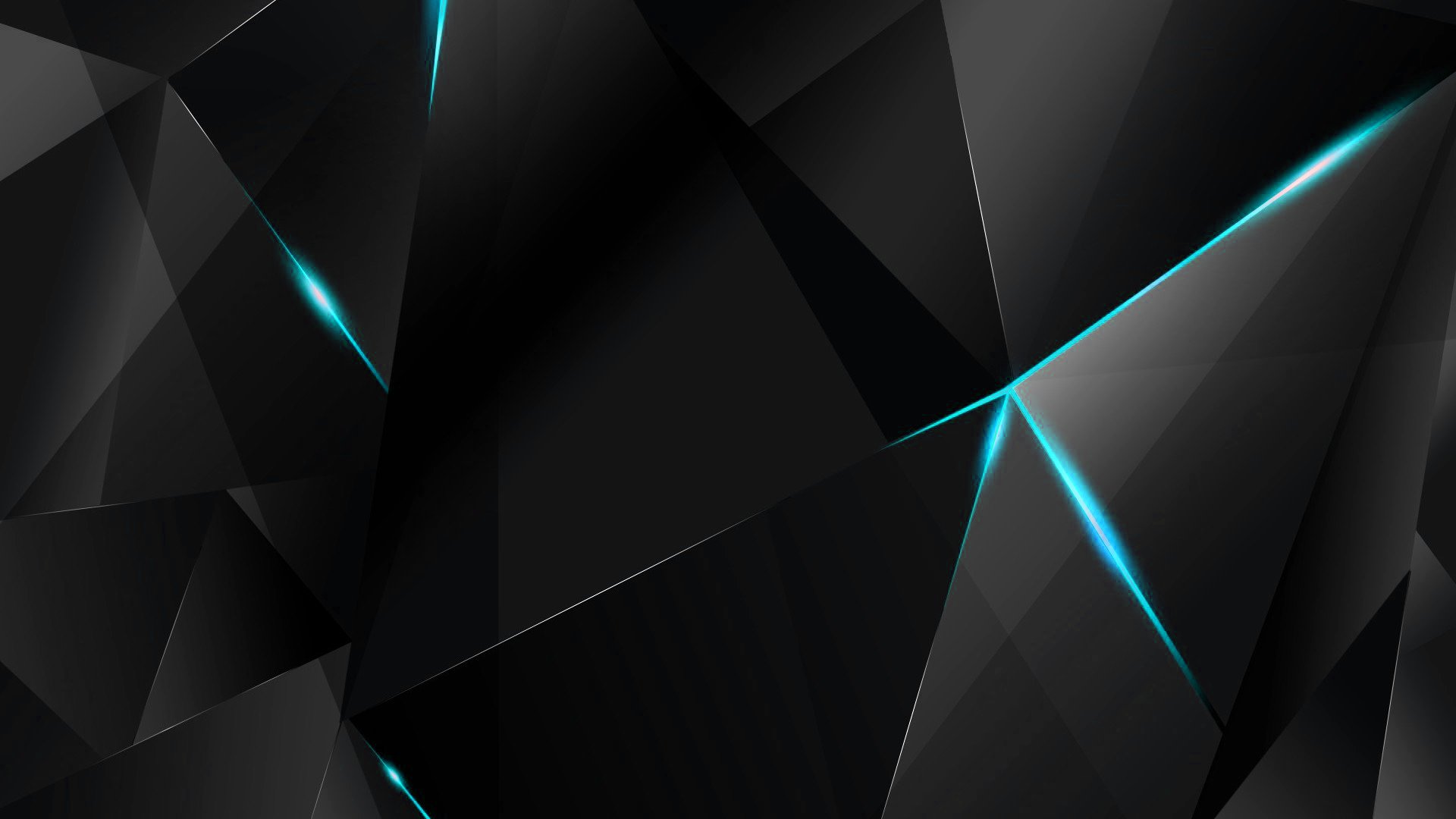 wallpapers cyan abstract polygons black bg by