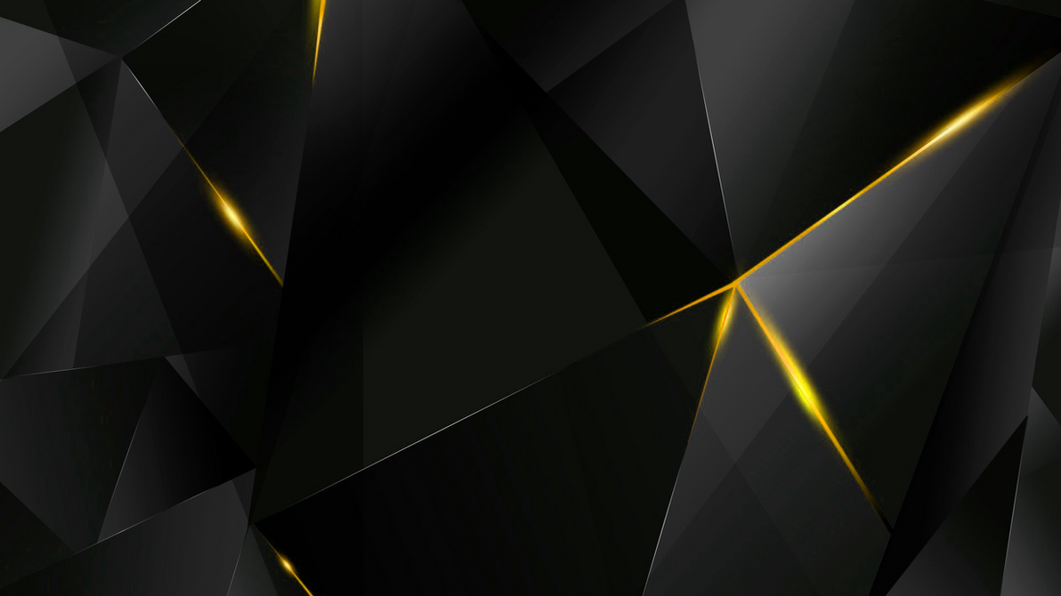 Yellow Abstract Polygons (Black BG) By