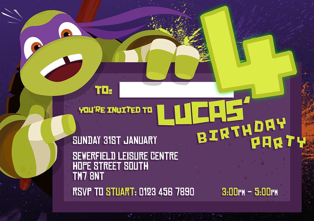 TMNT themed, 4th Birthday Party Invite! by lei-ji-hou