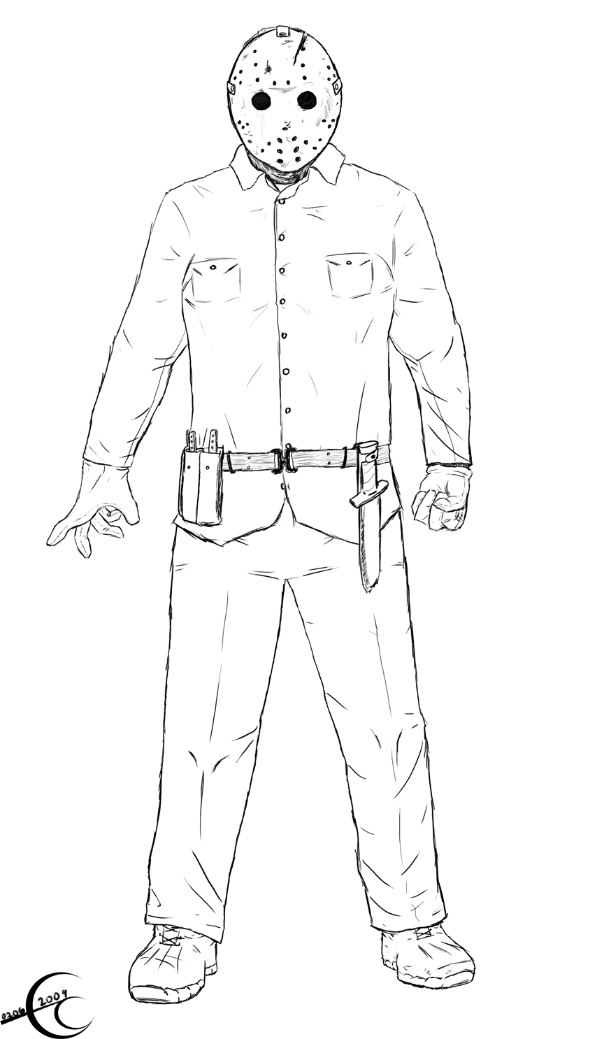 jason coloring pages - friday the 13th part 6 by ec87 on deviantart