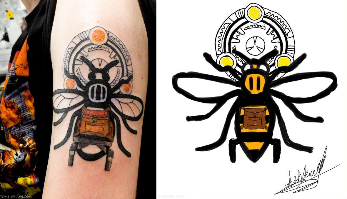 Lara croft manchester worker bee tattoo by that damn ash for Bee tattoo manchester