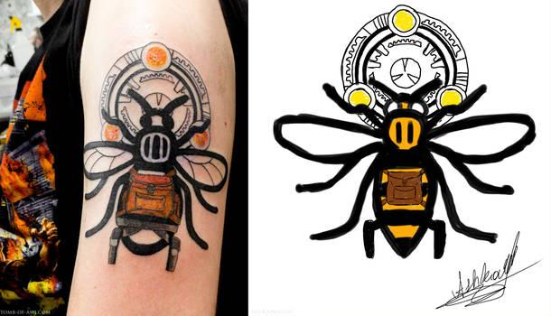 Lara Croft / Manchester Worker Bee Tattoo