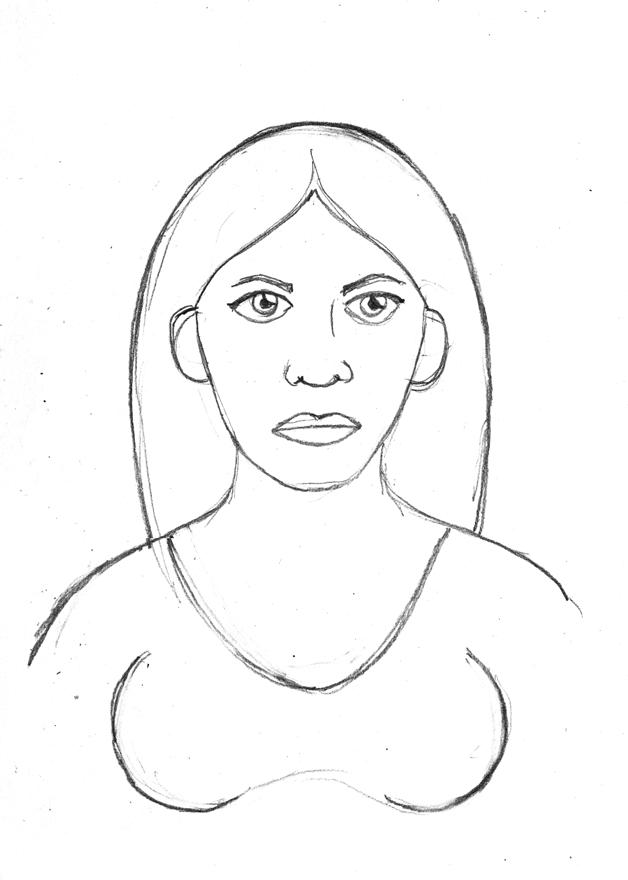 Molly Blue pencil 38E Molly's serious face