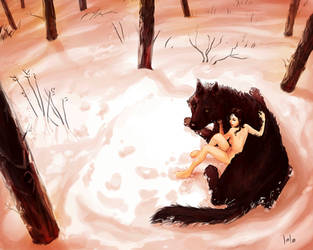 Wolf and girl by LolosArt