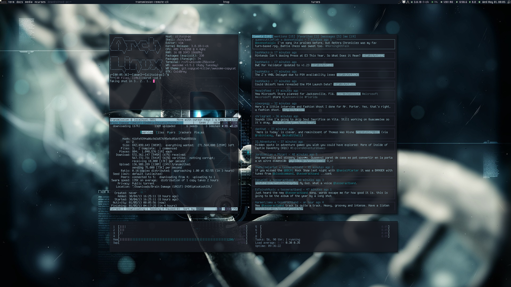 Arch Linux and Awesome 3.5 (May 2013) by transienceband