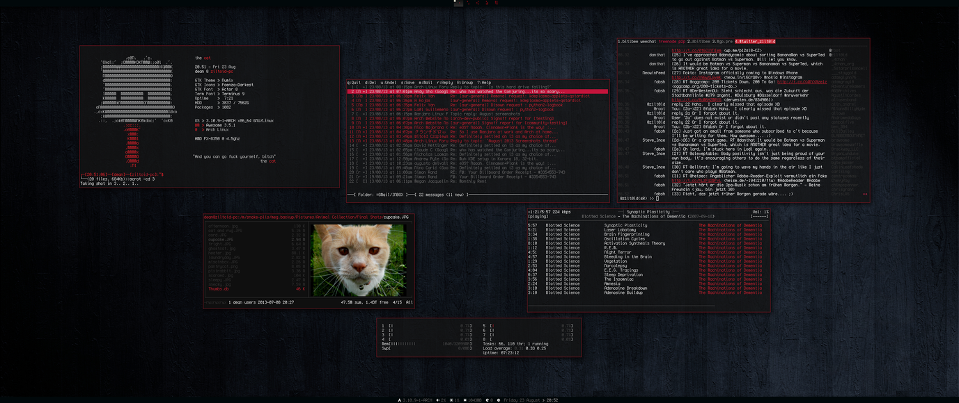 [arch] [awesomewm] Home Desktop August 2013 by transienceband