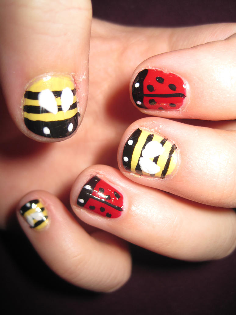 Ladybug and bumblebee nail art by indigovelvet on deviantart ladybug and bumblebee nail art by indigovelvet prinsesfo Choice Image
