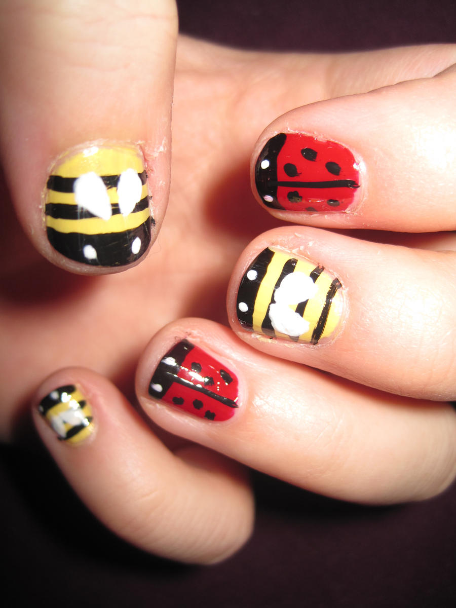 Ladybug and bumblebee nail art by indigovelvet on deviantart ladybug and bumblebee nail art by indigovelvet prinsesfo Image collections