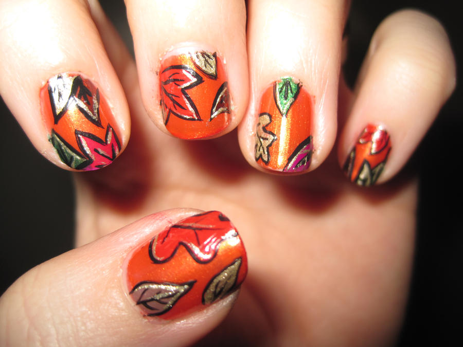 Fall Leaves Nail Art by IndigoVelvet