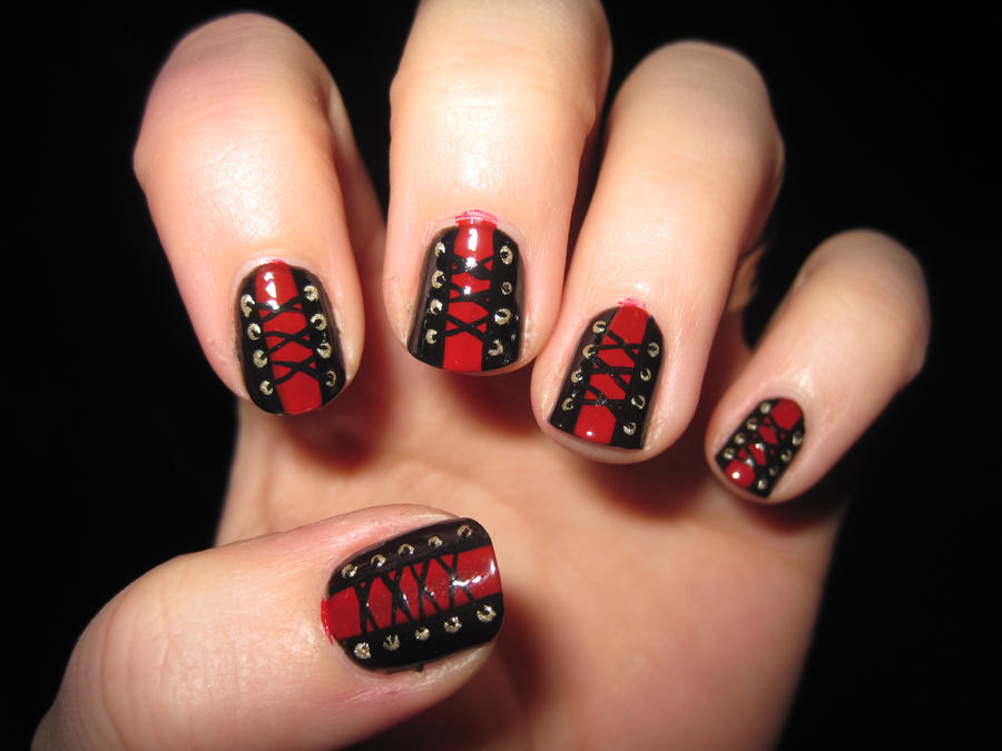 Corset Nail Art by IndigoVelvet on DeviantArt