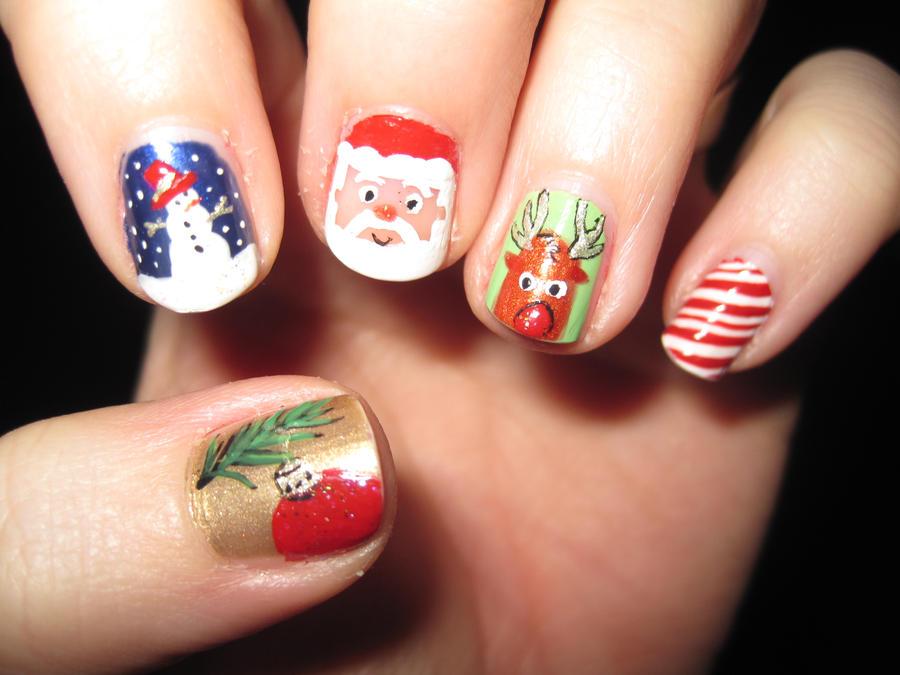 Christmas Nail Art by IndigoVelvet