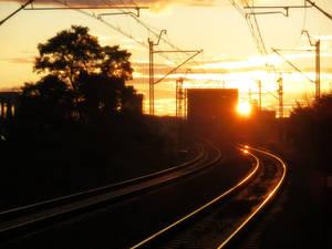 Sundown at the railway