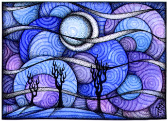 Circle Sky Night ACEO by TapWaterTaffy