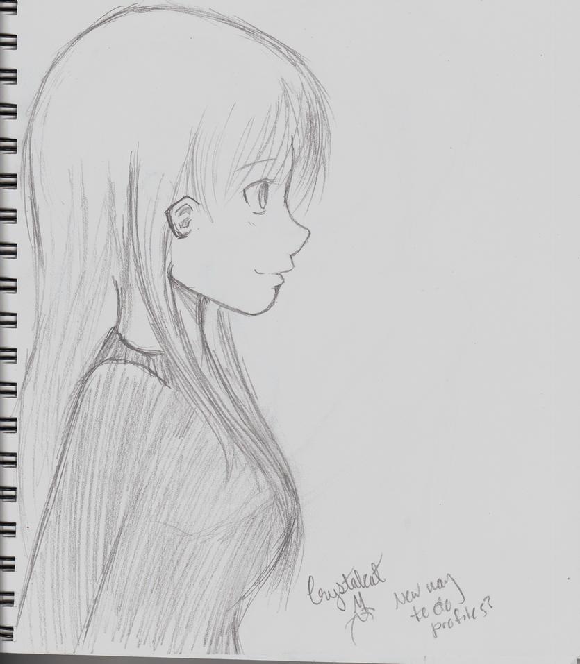 Anime Girl Profile Sketch By Crystalcat32 On Deviantart