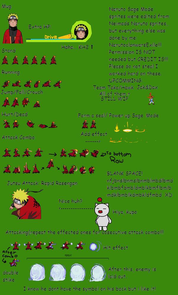 Naruto Sage Mode Sprites by NarutoclanwarsXile