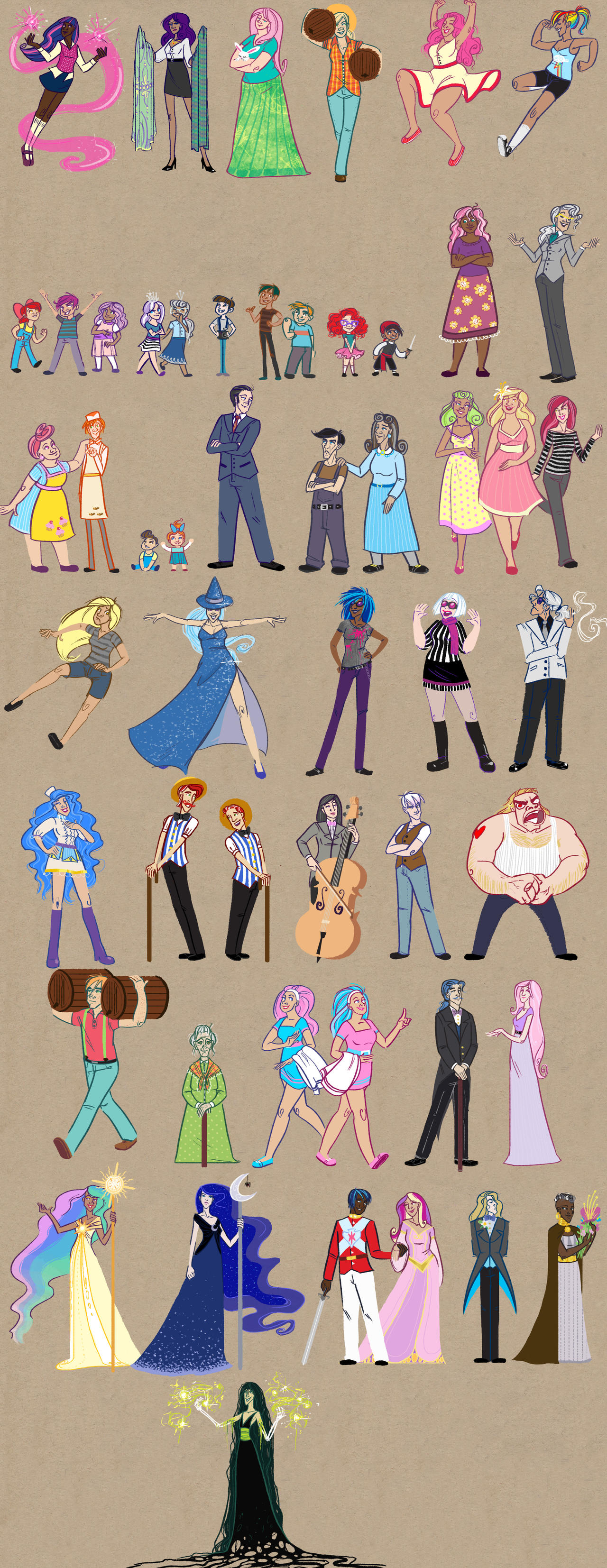 Humanized Ponies ALL OF THEM by SapphireKat