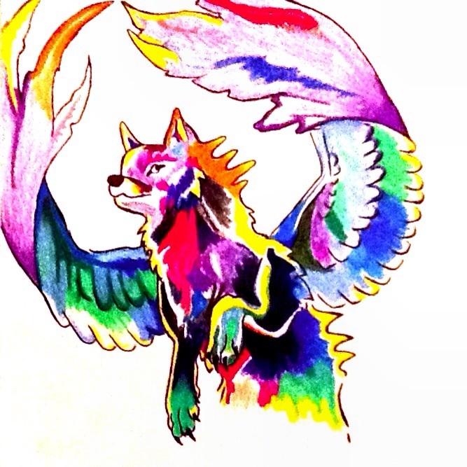 Rainbow Wolf By Kthejaybee3 On DeviantArt