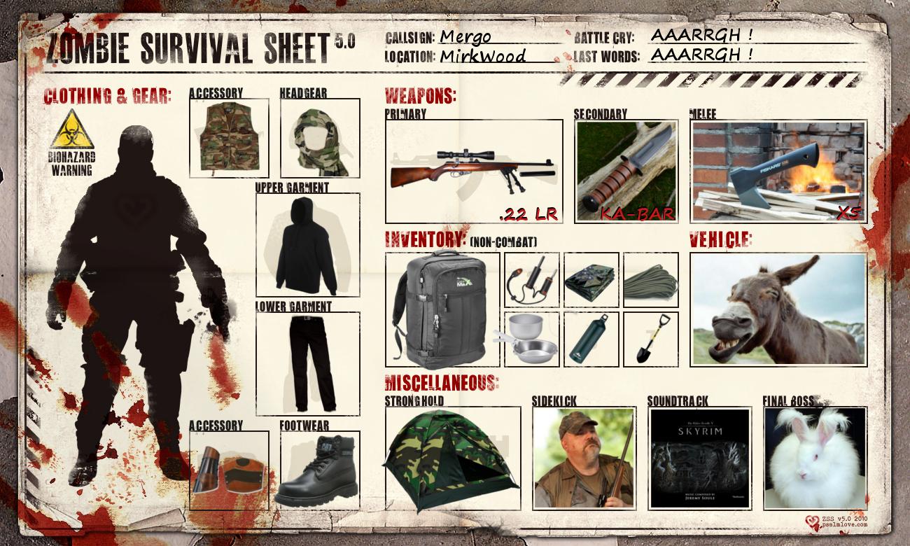 Zombie Survival Sheet by Mergorti