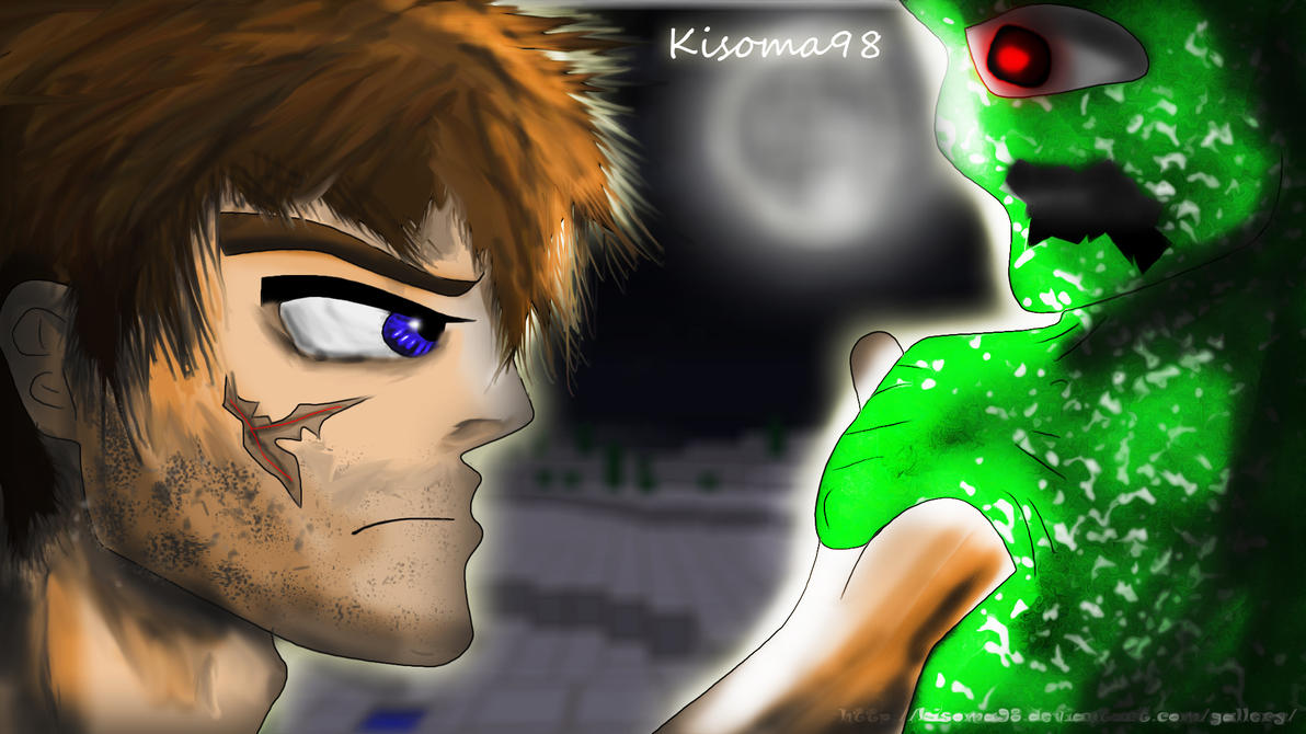 Minecraft fan art steve vs creeper quality by kisoma98