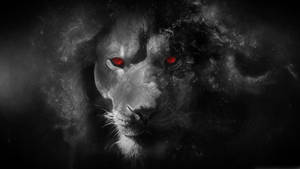 Black lion witch red eyes