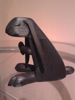 Carved pine Rabbit sculpture