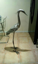 Heron garden sculpture stainless steel update 2