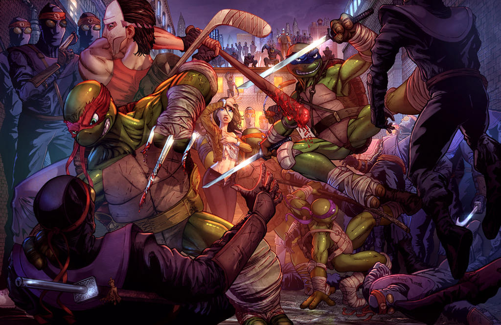 Teenage Mutant Ninja Turtles Protecting April by cehnot