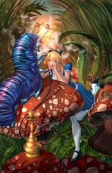 Alice Meeting the Caterpillar (no Chesire) by cehnot