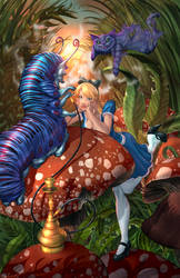 Alice Meeting the Caterpillar (Chesire disappear) by cehnot