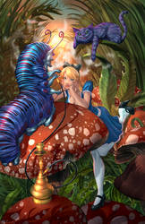 Alice Meeting the Caterpillar (Chesire) by cehnot