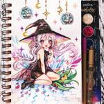 Watercolor chibi - cute witch