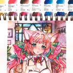 Ych watercolor maid CM - fox maid