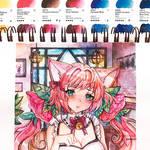 Ych watercolor maid CM - fox maid